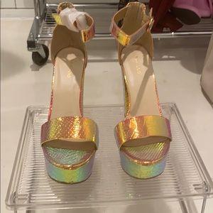 NEW Bamboo rainbow metallic Platform Sandals